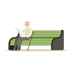 Grey senior man sitting on a wooden bench and vector
