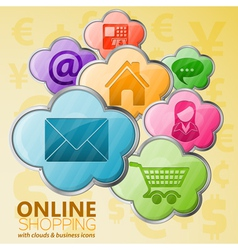 Online shopping cloud computing concept vector
