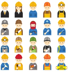 Worker craftsman symbol icons set vector