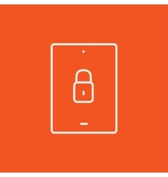Digital tablet security line icon vector