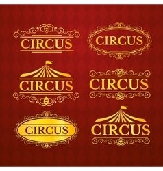 Circus vintage badges set vector