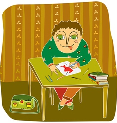 Boy drawing table room vector