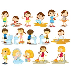 Girls and boys doing chores vector