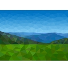 Low poly mountains with blue sky vector