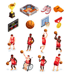 basketball elements icon set vector image vector image