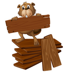 Beaver and pile of plywoods vector
