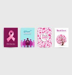 breast cancer awareness pink ribbon poster set vector image vector image