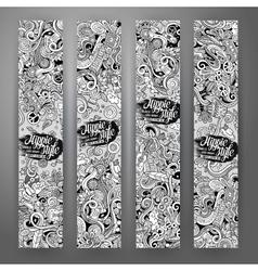 Cartoon doodles hippie banners vector image vector image