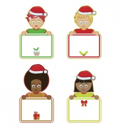 Christmas kids holding signs vector image vector image