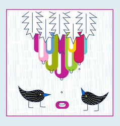 Cute birds exotic fruit water drops baby shower vector