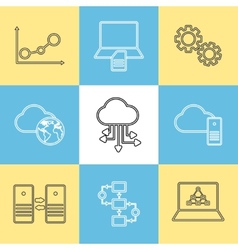 Data storage data analysis and transfer icons vector