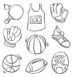 Doodle of sport equipment ball vector