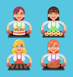 Family recipe cake donut cookies fried chicken vector