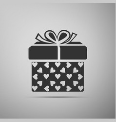 gift box and heart icon packaging valentines day vector image