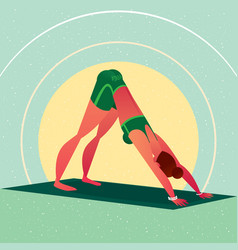 Girl standing in yoga downward-facing dog pose vector