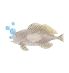hand drawing grouper fish side view sea life vector image vector image
