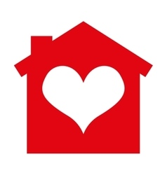 house silhouette heart isolated icon vector image