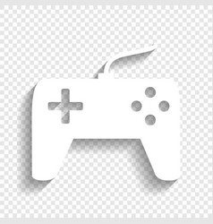 Joystick simple sign white icon with soft vector
