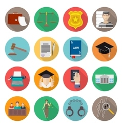 Law icon flat set with lawyer jail court jury vector image vector image