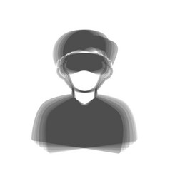 Man with sleeping mask sign gray icon vector