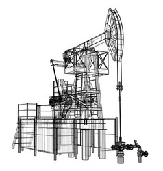oil pump jack in wire-frame style vector image