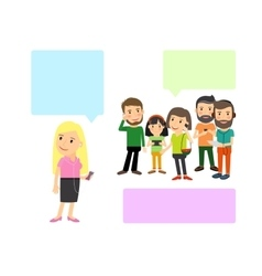 People with gadgets and speech bubbles vector