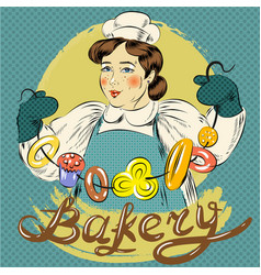 pop art of woman with pastry vector image