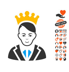 Prince icon with dating bonus vector