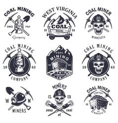 Set of vintage coal mining emblems vector