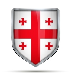 Shield with flag Georgia vector image vector image