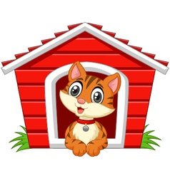 Smiling cat in his doghouse vector