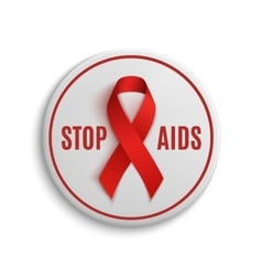 Stop aids white badge with red ribbon vector