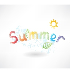 summer by letters grunge icon vector image
