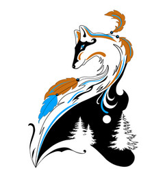 tatto style fox with winter elements for salons vector image vector image