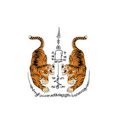 tiger thai tradition tattoo vector image vector image