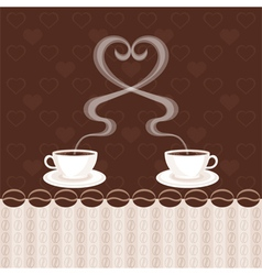 Two cups of coffee and steam heart vector image