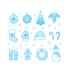 winter christmas and new year objects collection vector image
