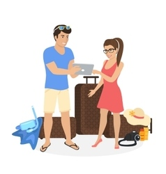 Young couple standing near luggage and using vector