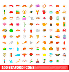 100 seafood icons set cartoon style vector