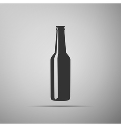Beer bottle flat icon on grey background Adobe vector image