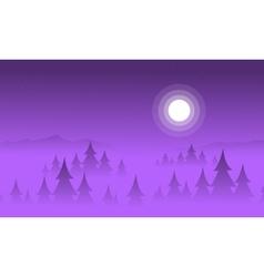 Silhouette of spruce and fog landscape vector