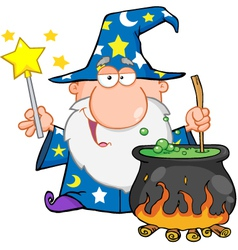 Wizard waving with magic wand and preparing a poti vector