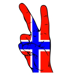 Peace sign of the norwegian flag vector