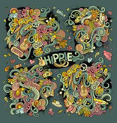 Colorful set of hippie doodles designs vector