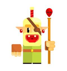 Cheerful cartoon gnome pirate fairy tale vector