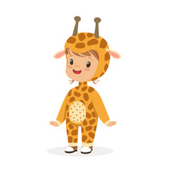Cute happy boy dressed as a giraffe kids carnival vector