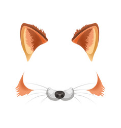 Fox animal face filter template video chat photo vector