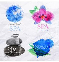 Symbols spa watercolor vector