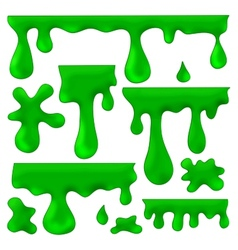 Green blots splashes and smudges vector
