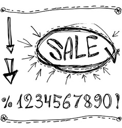 Sale numbers percentages arrows sketched on a vector